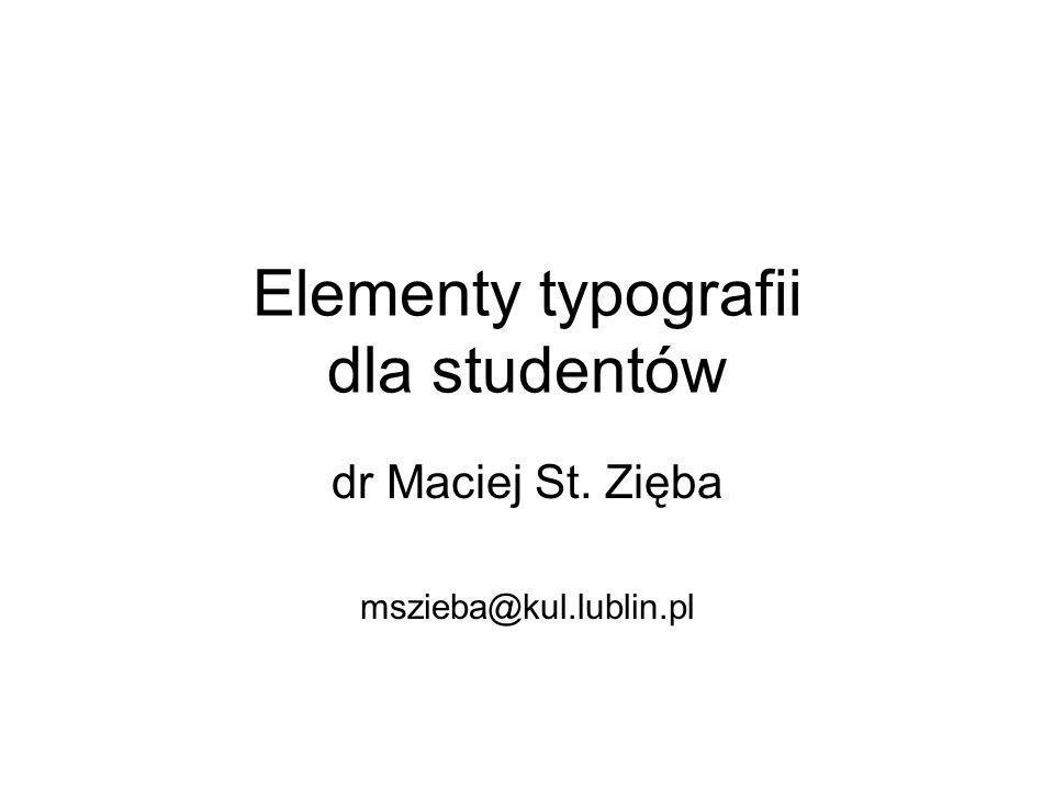 Elementy typografii dla studentów