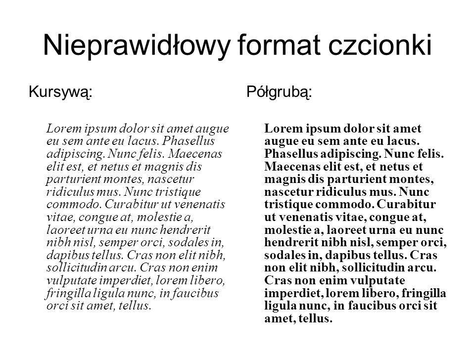 Nieprawidłowy format czcionki