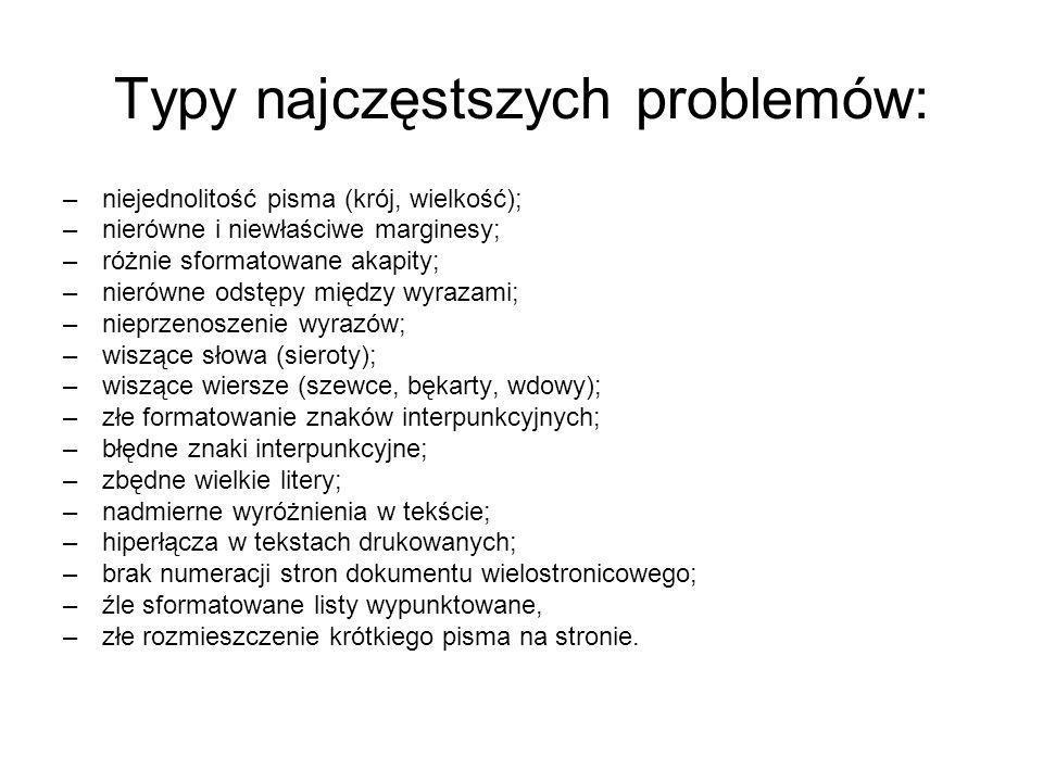 Typy najczęstszych problemów: