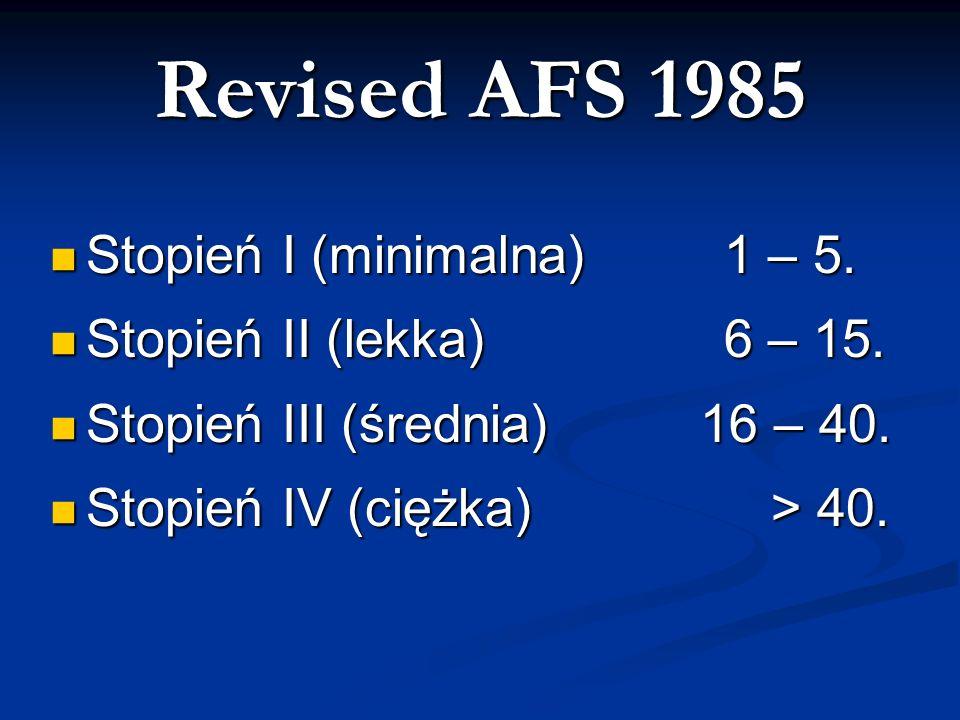 Revised AFS 1985 Stopień I (minimalna) 1 – 5.