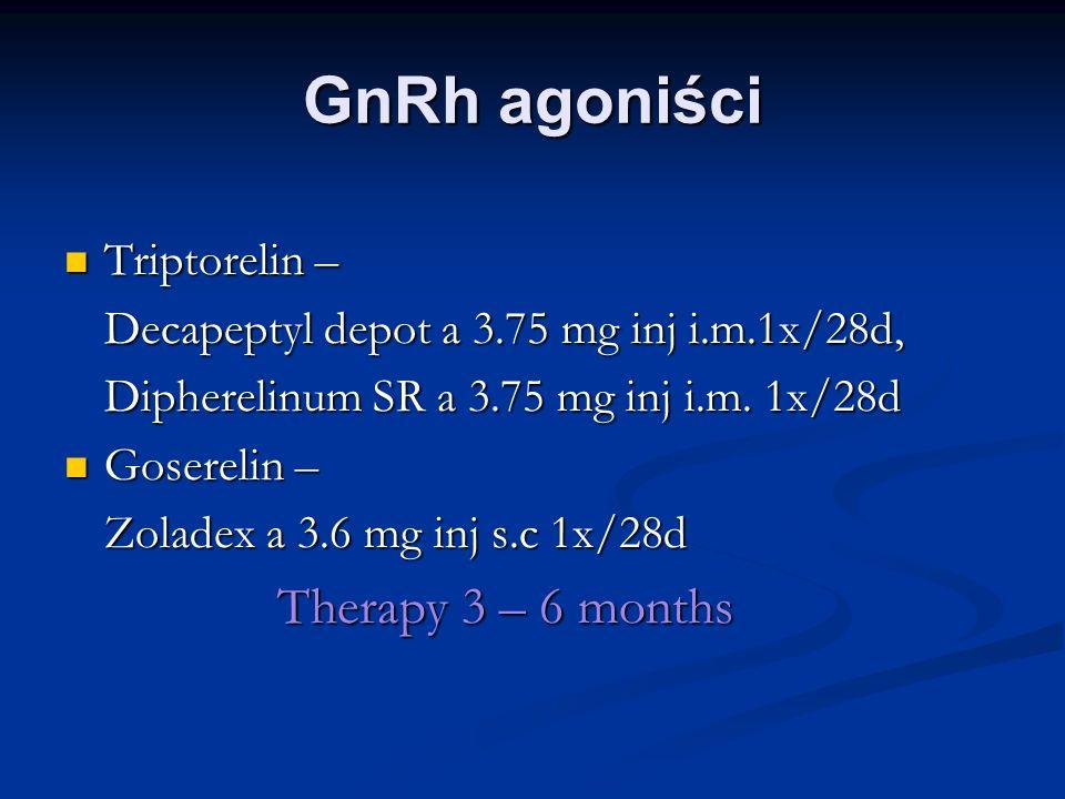 GnRh agoniści Triptorelin – Decapeptyl depot a 3.75 mg inj i.m.1x/28d,