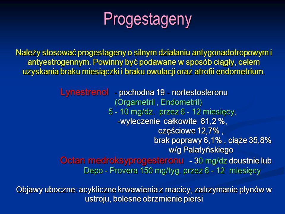 Progestageny Należy stosować progestageny o silnym działaniu antygonadotropowym i antyestrogennym.