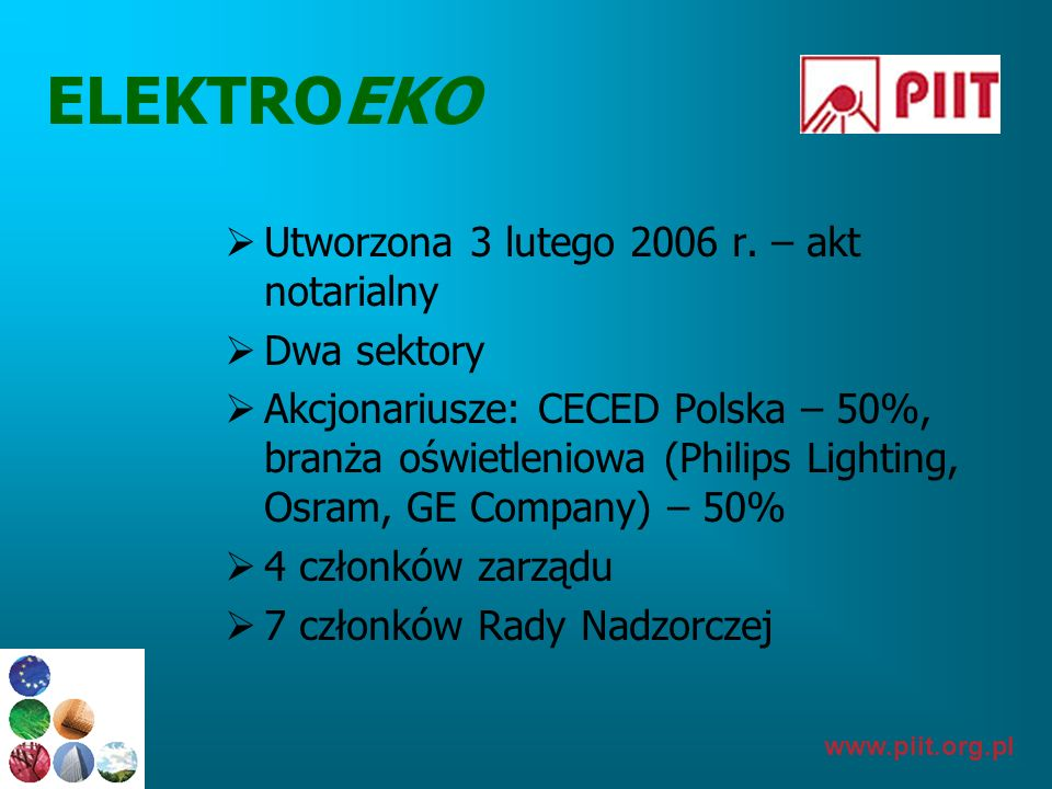 ELEKTROEKO Utworzona 3 lutego 2006 r. – akt notarialny Dwa sektory