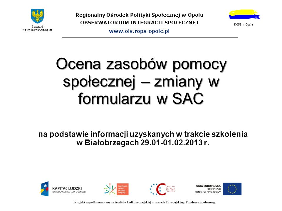 Ocena zasobów pomocy społecznej – zmiany w formularzu w SAC