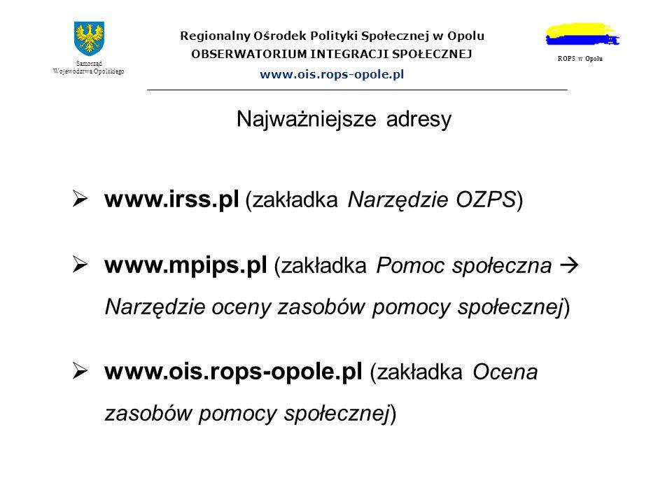 www.irss.pl (zakładka Narzędzie OZPS)