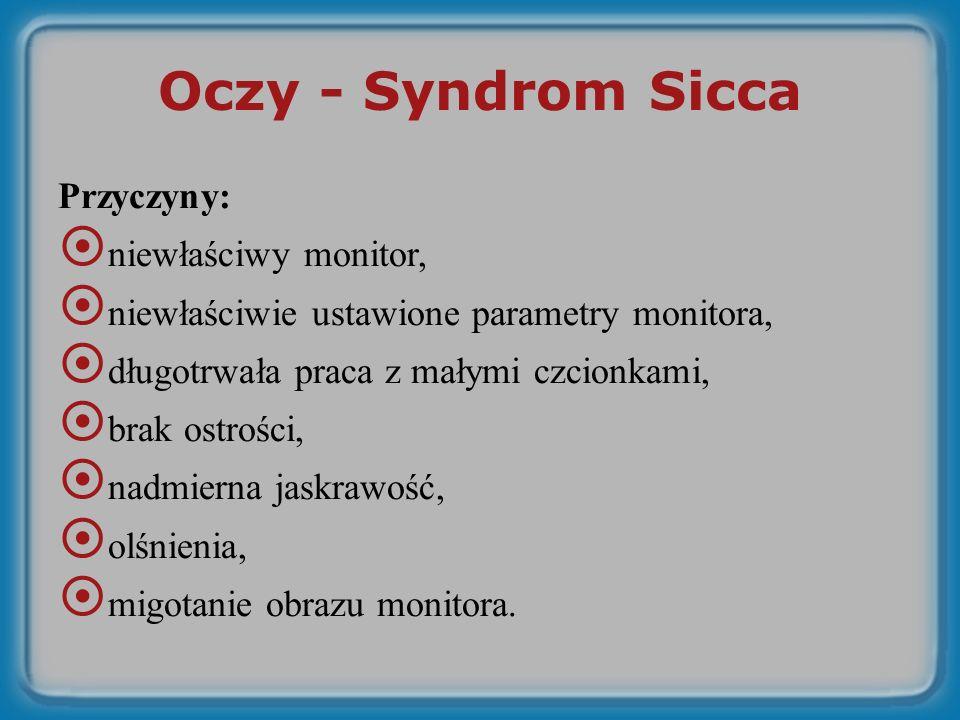 Oczy - Syndrom Sicca Przyczyny: niewłaściwy monitor,
