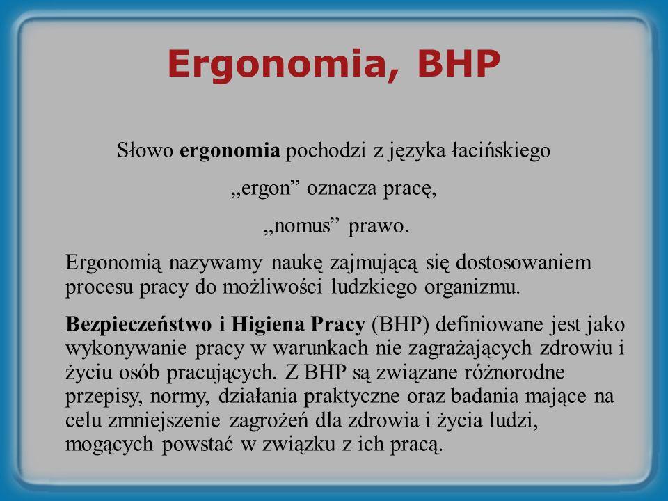 Słowo ergonomia pochodzi z języka łacińskiego