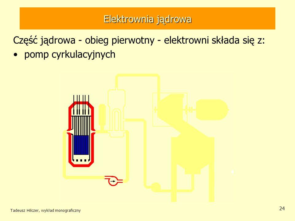 Część jądrowa - obieg pierwotny - elektrowni składa się z: