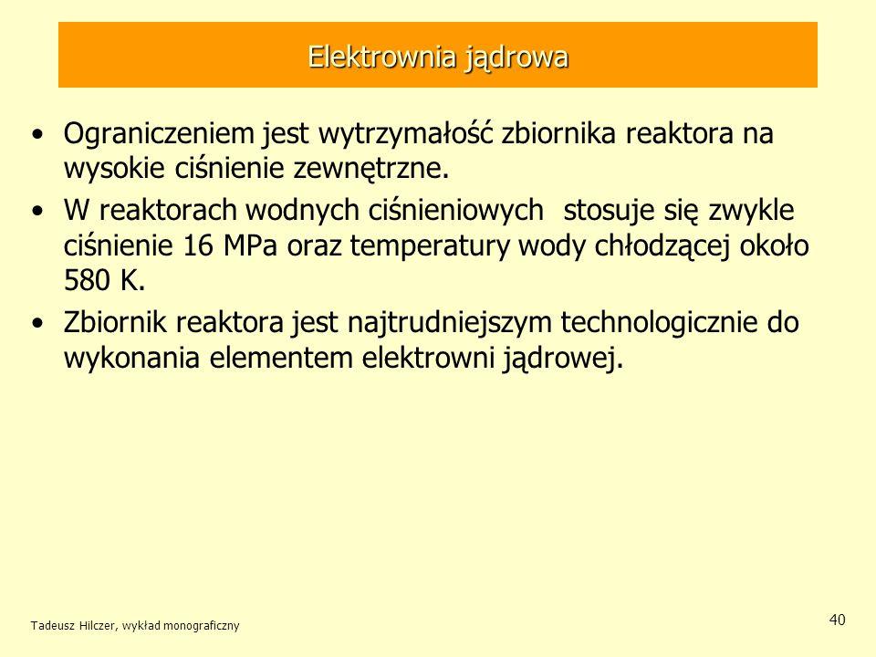 Elektrownia jądrowa Ograniczeniem jest wytrzymałość zbiornika reaktora na wysokie ciśnienie zewnętrzne.