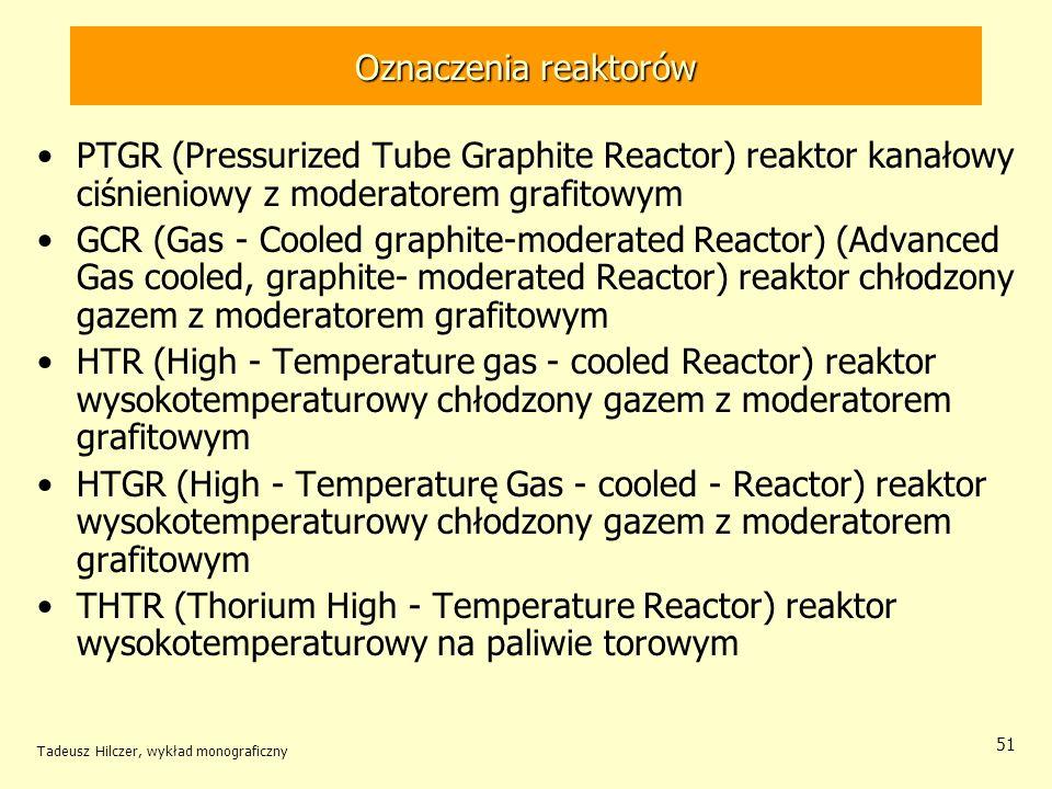 Oznaczenia reaktorów PTGR (Pressurized Tube Graphite Reactor) reaktor kanałowy ciśnieniowy z moderatorem grafitowym.