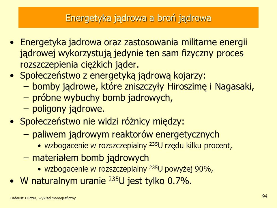 Energetyka jądrowa a broń jądrowa