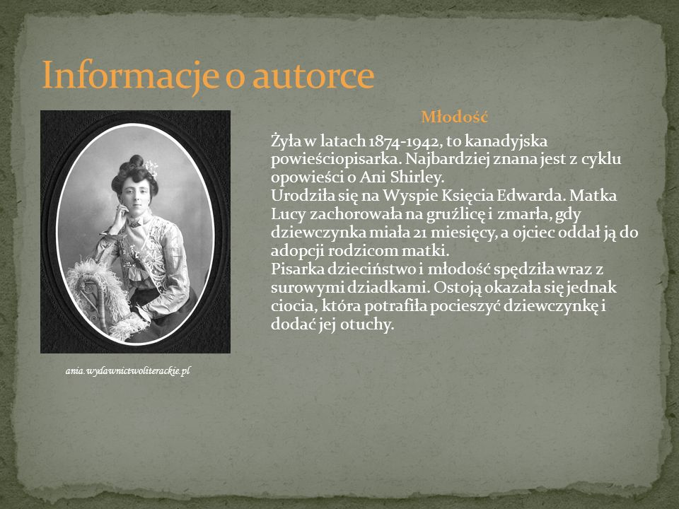 Informacje o autorce Młodość