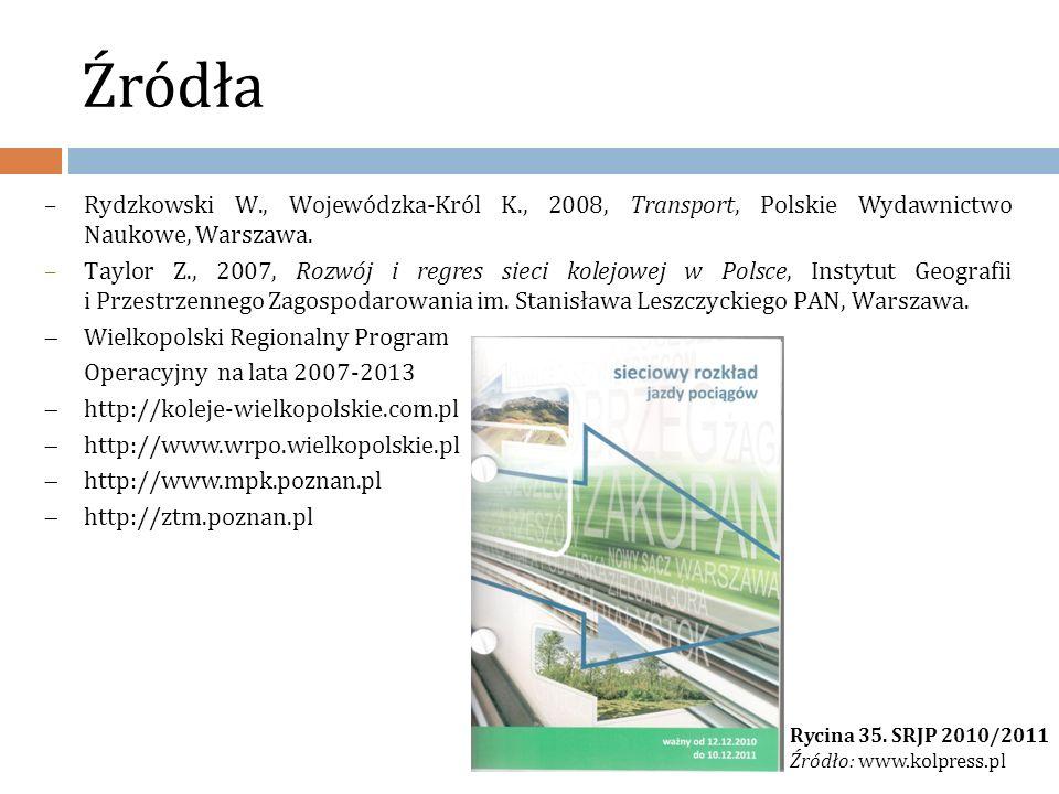 Źródła Rydzkowski W., Wojewódzka-Król K., 2008, Transport, Polskie Wydawnictwo Naukowe, Warszawa.