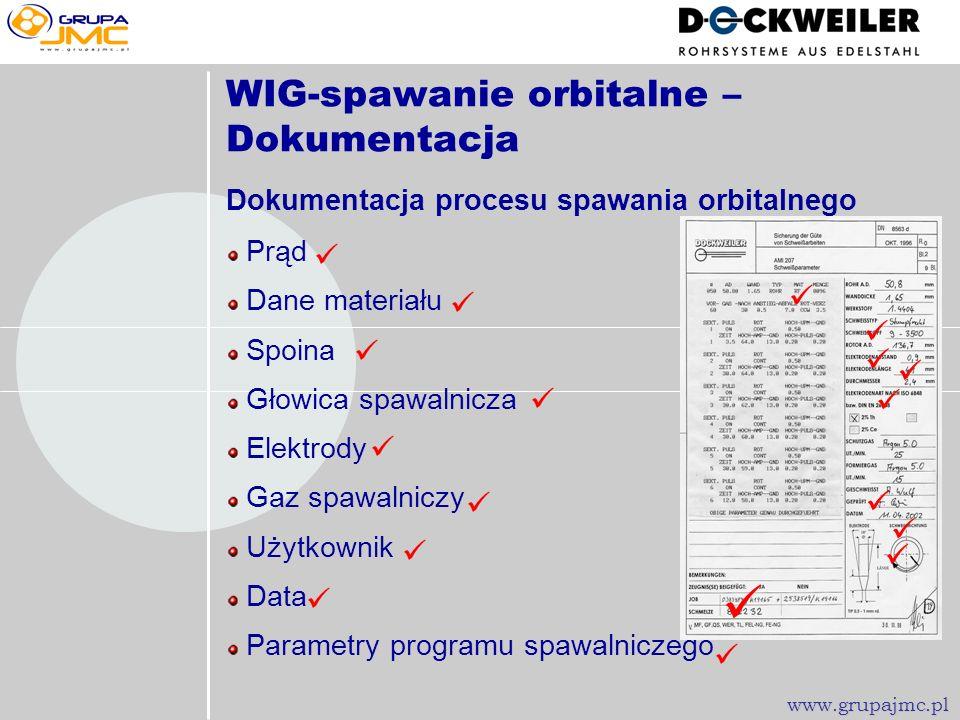  WIG-spawanie orbitalne – Dokumentacja               