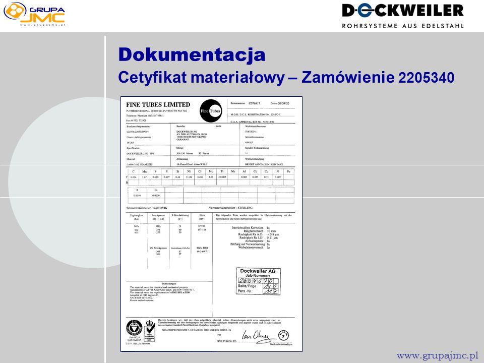 Dokumentacja Cetyfikat materiałowy – Zamówienie 2205340