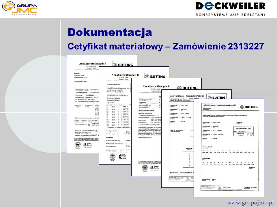Dokumentacja Cetyfikat materiałowy – Zamówienie 2313227