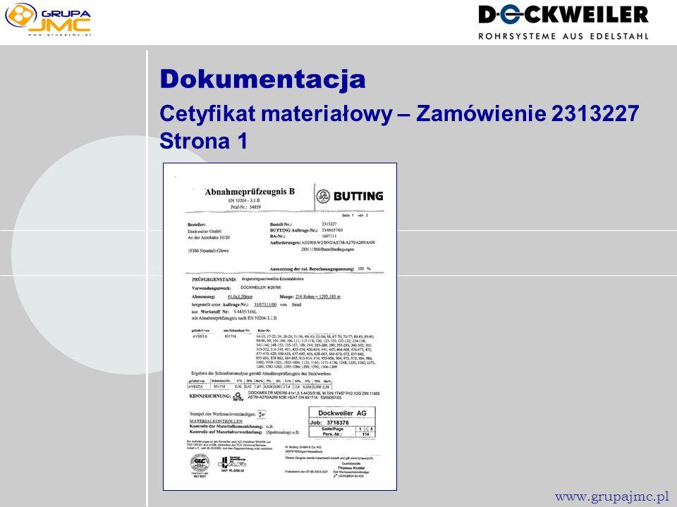 Dokumentacja Cetyfikat materiałowy – Zamówienie 2313227 Strona 1