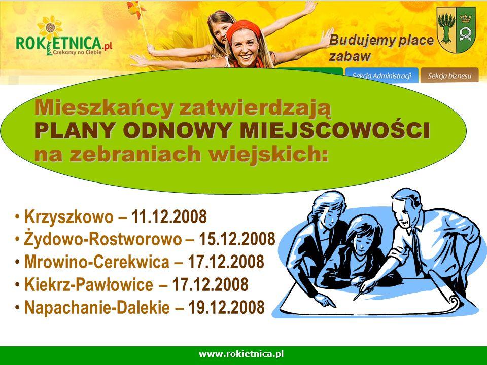 Budujemy place zabaw. Mieszkańcy zatwierdzają PLANY ODNOWY MIEJSCOWOŚCI na zebraniach wiejskich: Krzyszkowo – 11.12.2008.