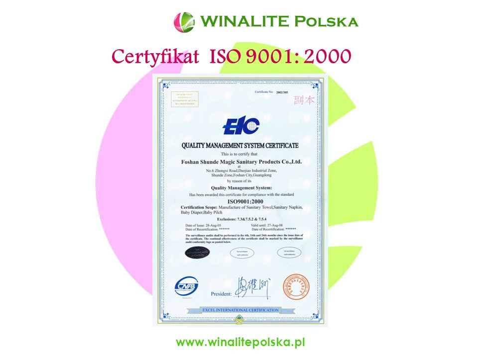 Certyfikat ISO 9001: 2000 WINALITE Polska www.winalitepolska.pl