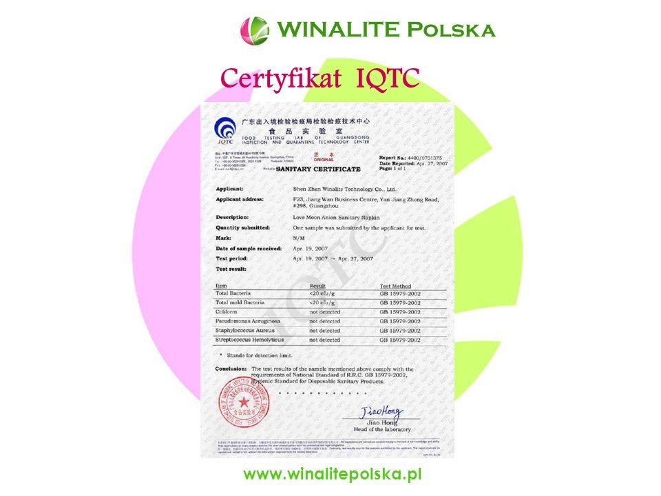 WINALITE Polska WINALITE Polska Certyfikat IQTC www.winalitepolska.pl