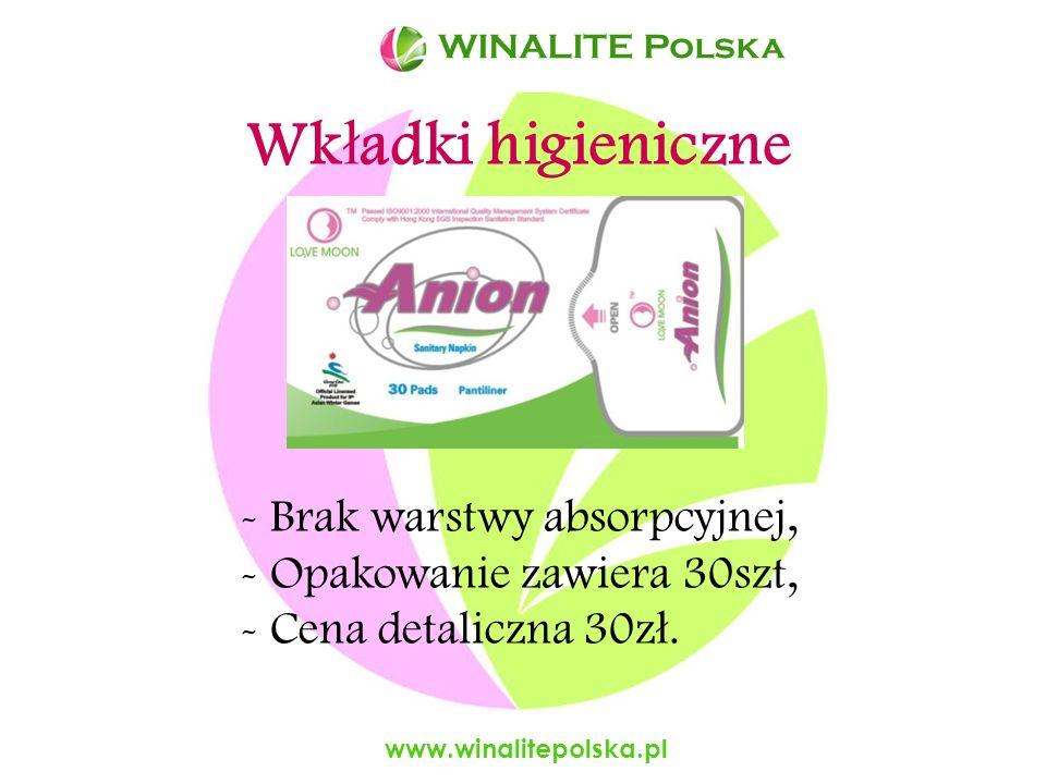Wkładki higieniczne Brak warstwy absorpcyjnej,