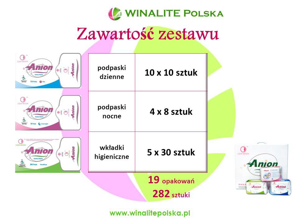 Zawartość zestawu 19 opakowań 282 sztuki WINALITE Polska 10 x 10 sztuk