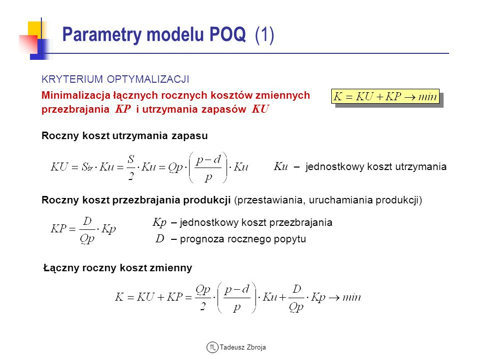 Parametry modelu POQ (1)