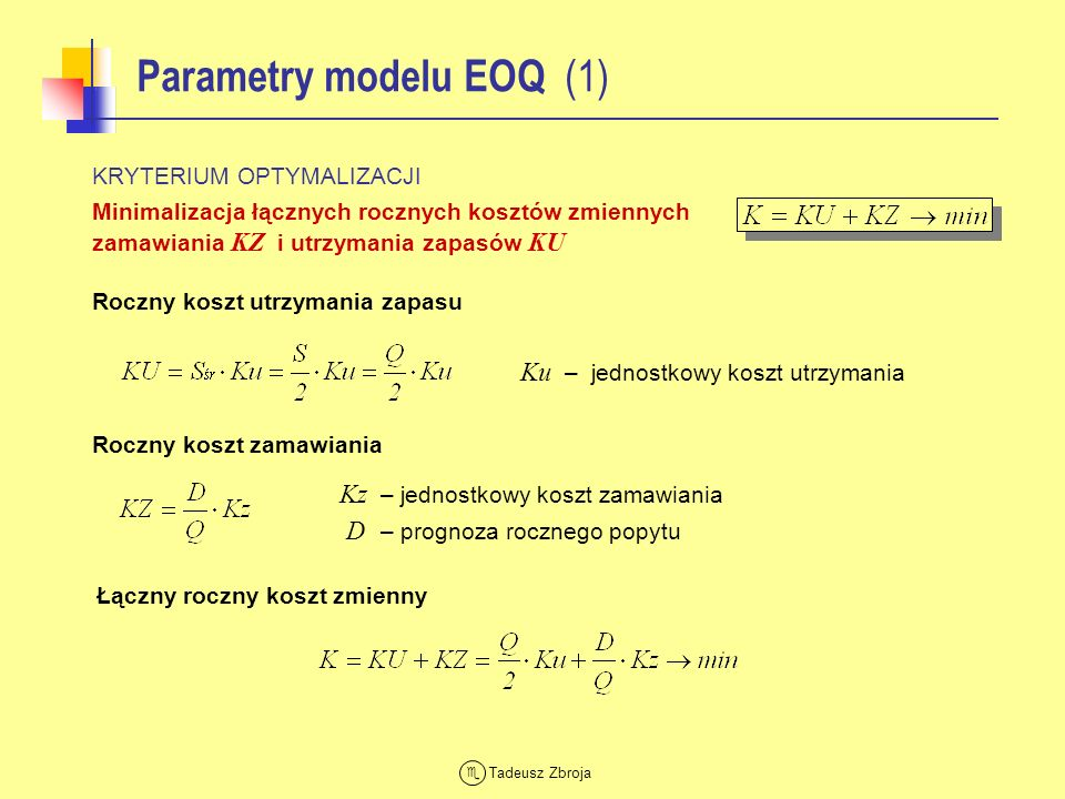 Parametry modelu EOQ (1)