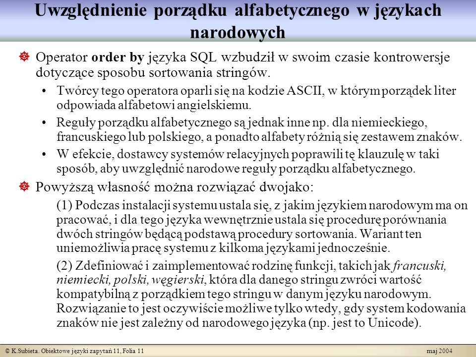Uwzględnienie porządku alfabetycznego w językach narodowych