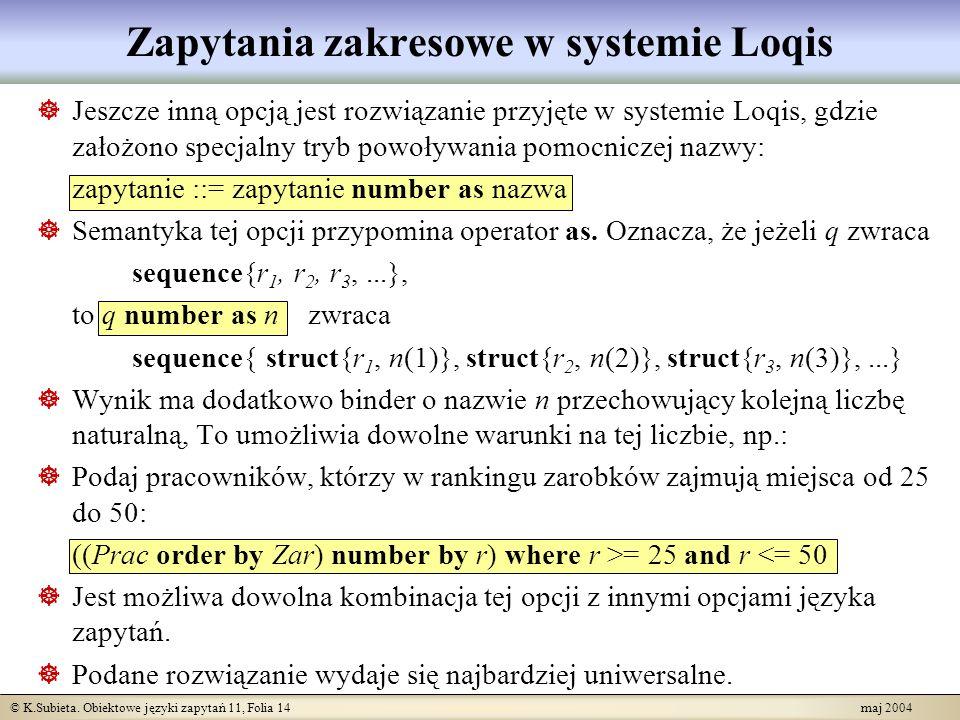 Zapytania zakresowe w systemie Loqis