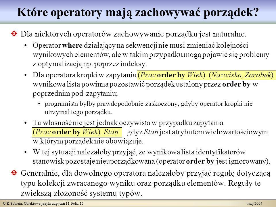 Które operatory mają zachowywać porządek