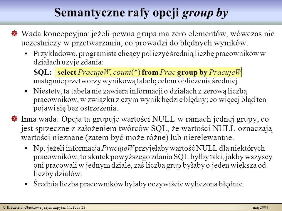 Semantyczne rafy opcji group by