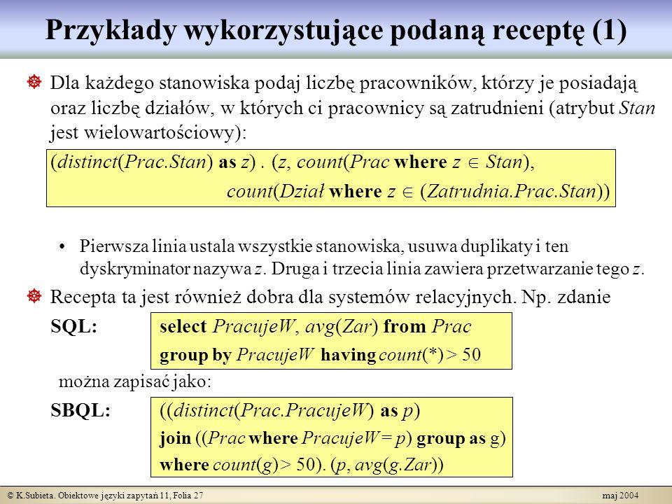 Przykłady wykorzystujące podaną receptę (1)