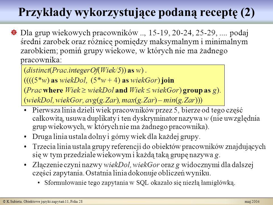 Przykłady wykorzystujące podaną receptę (2)