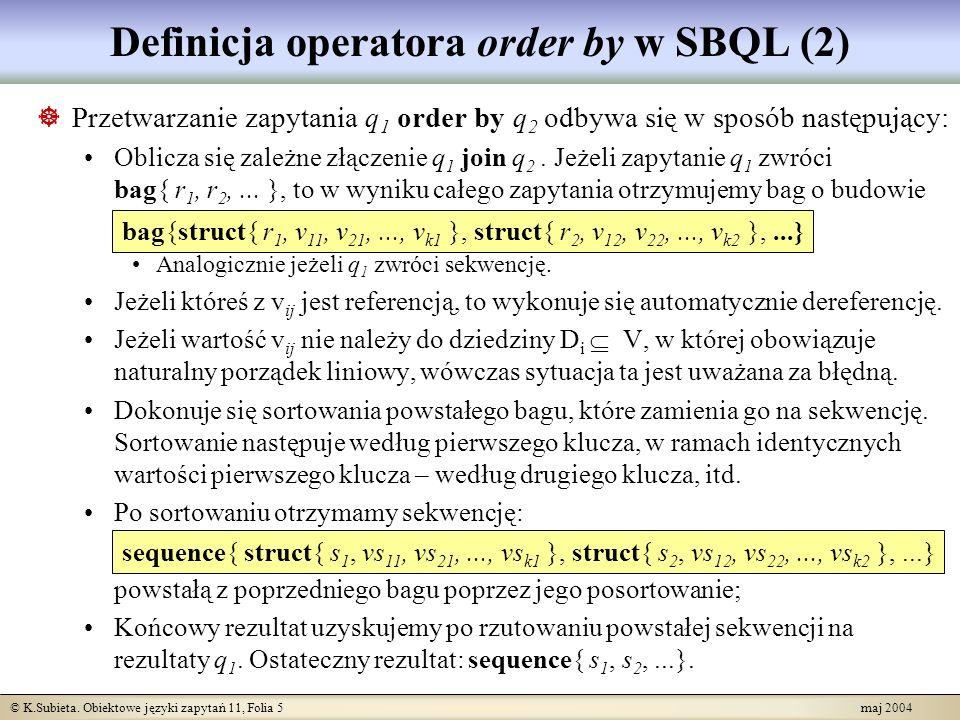 Definicja operatora order by w SBQL (2)