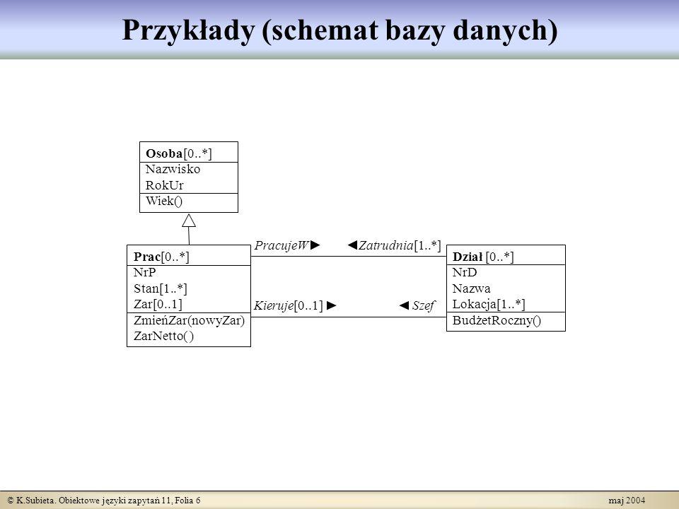 Przykłady (schemat bazy danych)