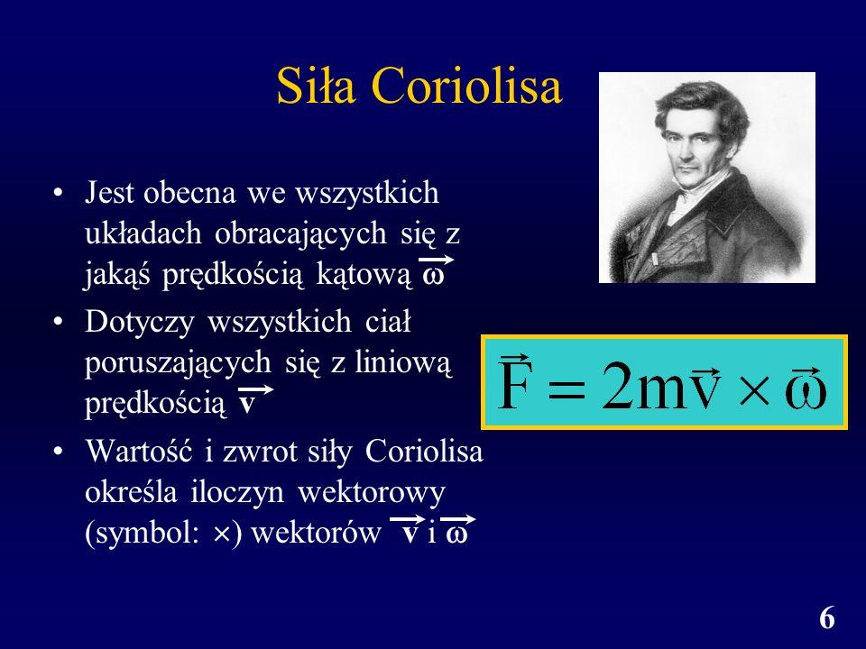 Siła Coriolisa Jest obecna we wszystkich układach obracających się z jakąś prędkością kątową 