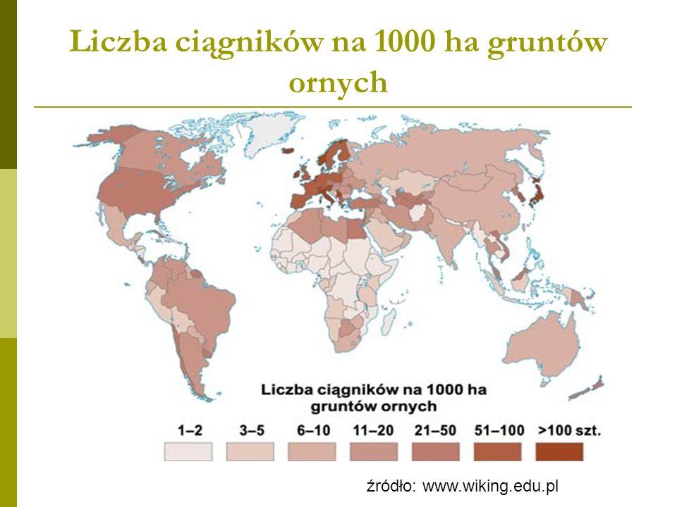 Liczba ciągników na 1000 ha gruntów ornych
