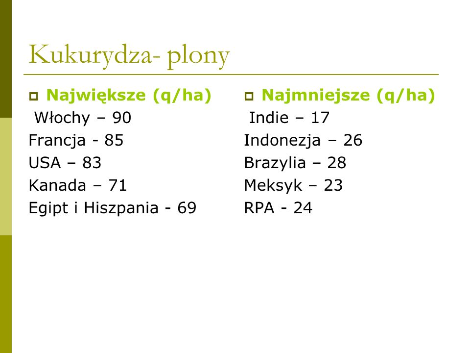 Kukurydza- plony Największe (q/ha) Włochy – 90 Francja - 85 USA – 83