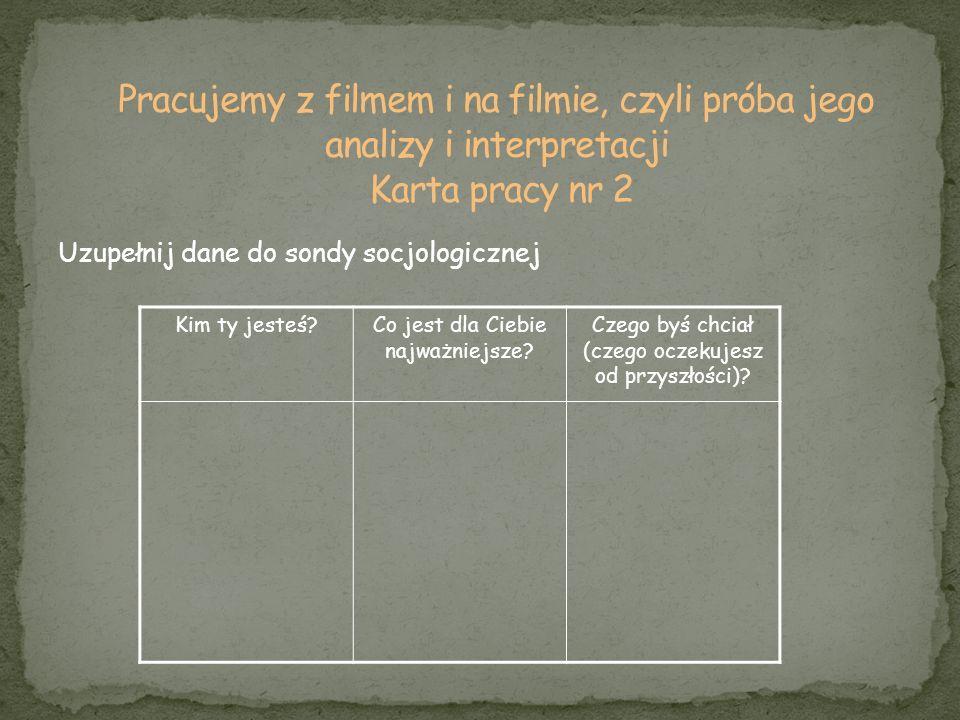 Pracujemy z filmem i na filmie, czyli próba jego analizy i interpretacji Karta pracy nr 2
