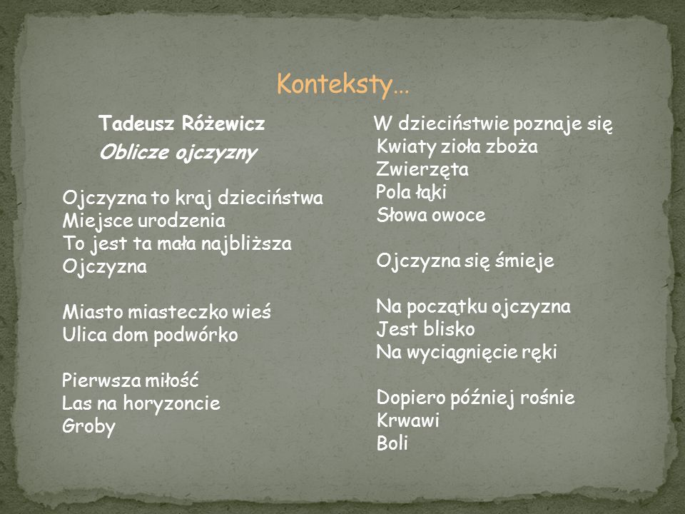 Konteksty… Tadeusz Różewicz