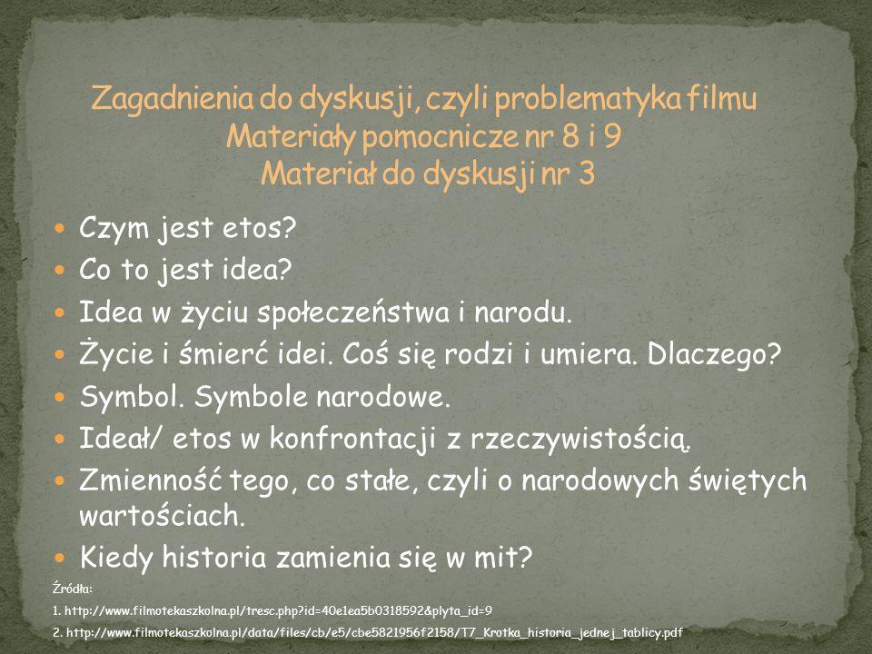Zagadnienia do dyskusji, czyli problematyka filmu Materiały pomocnicze nr 8 i 9 Materiał do dyskusji nr 3