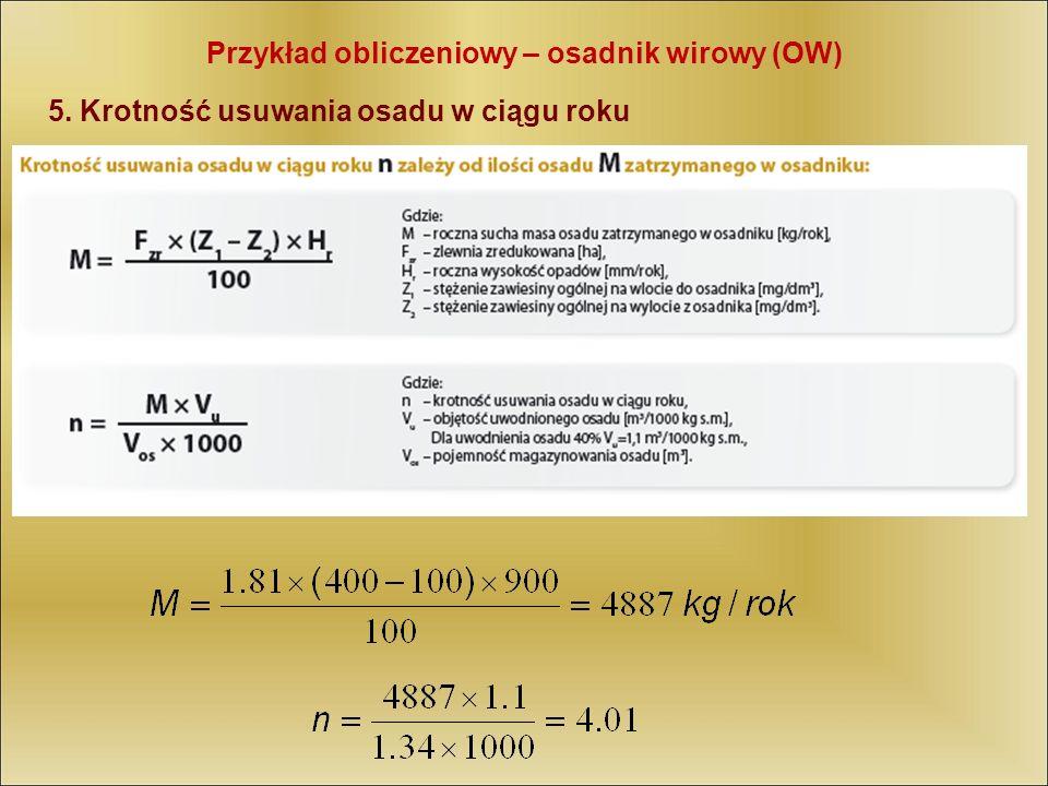 Przykład obliczeniowy – osadnik wirowy (OW)