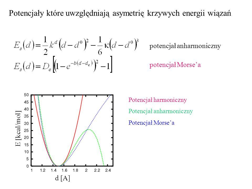 Potencjały które uwzględniają asymetrię krzywych energii wiązań