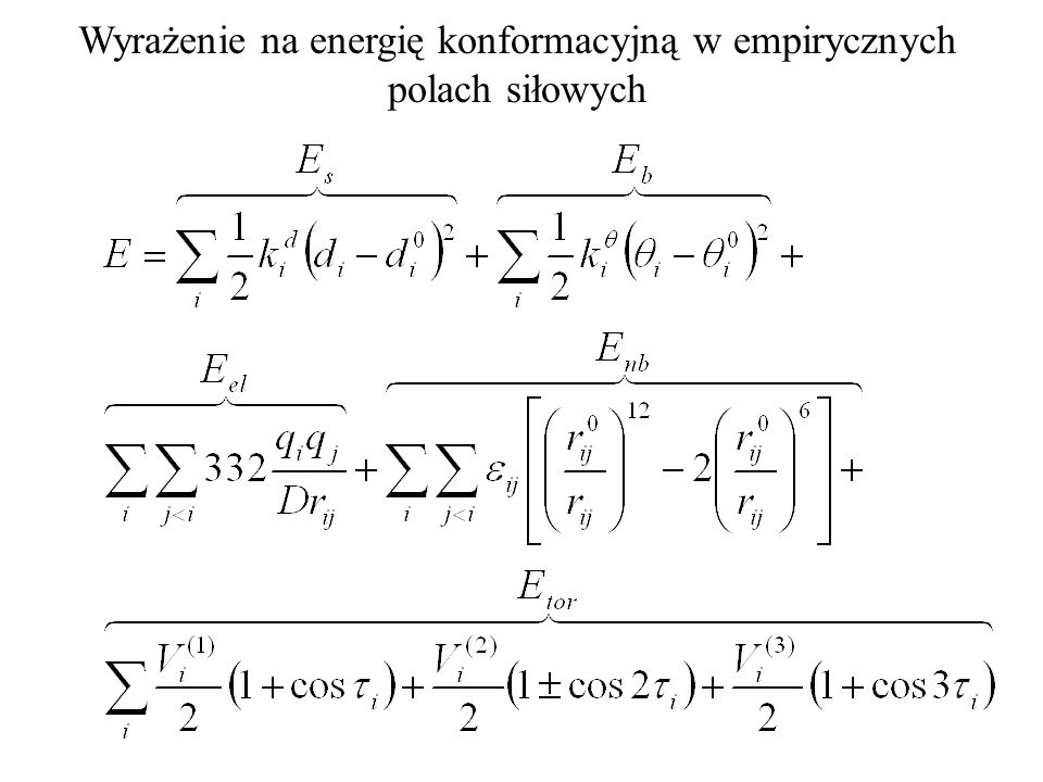 Wyrażenie na energię konformacyjną w empirycznych polach siłowych