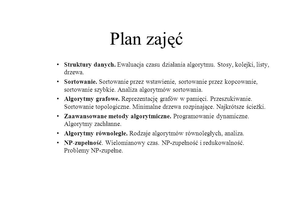 Plan zajęć Struktury danych. Ewaluacja czasu działania algorytmu. Stosy, kolejki, listy, drzewa.