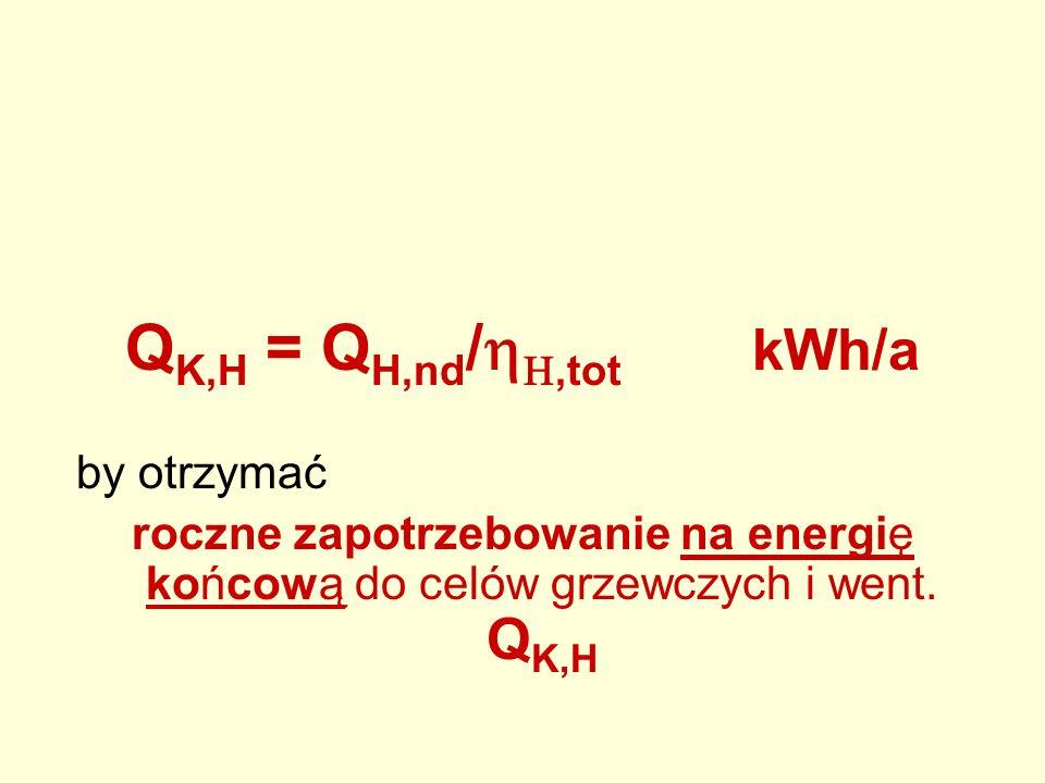 QK,H = QH,nd/hH,tot kWh/a by otrzymać