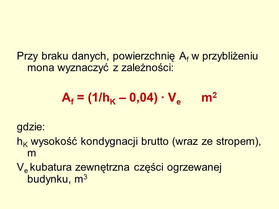 Przy braku danych, powierzchnię Af w przybliżeniu mona wyznaczyć z zależności: