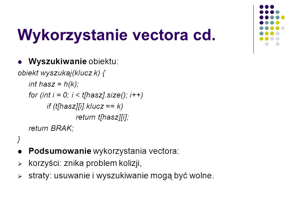 Wykorzystanie vectora cd.