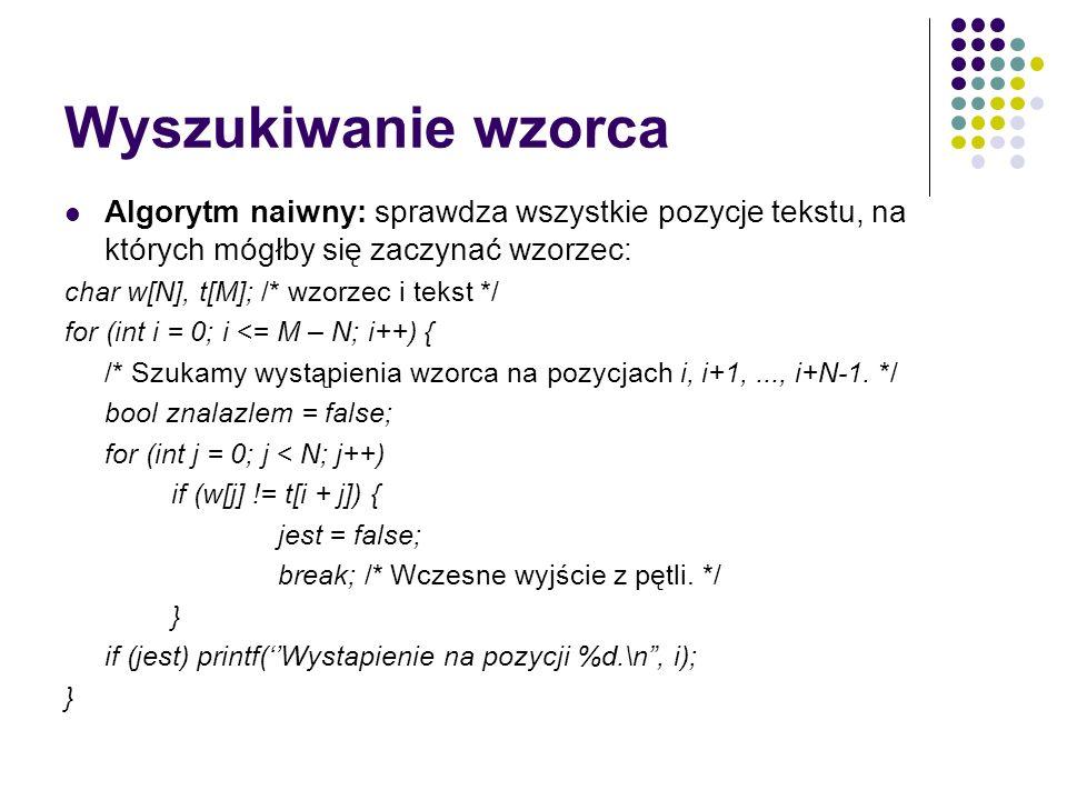 Wyszukiwanie wzorca Algorytm naiwny: sprawdza wszystkie pozycje tekstu, na których mógłby się zaczynać wzorzec: